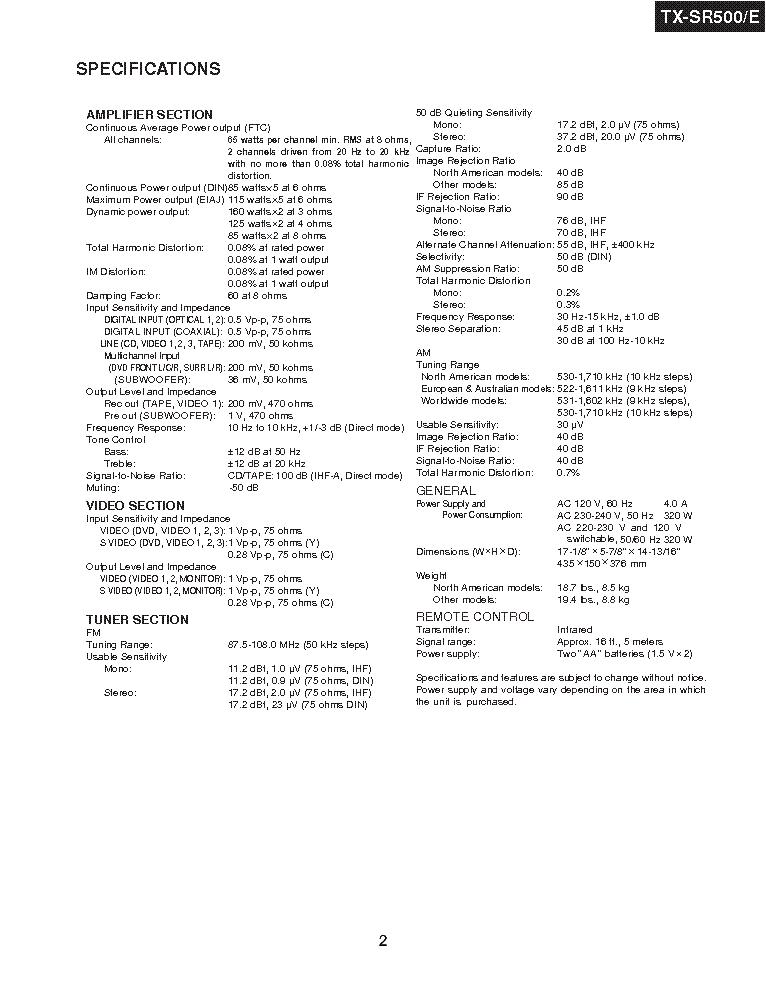 ONKYO TX-SR500E Service Manual download, schematics
