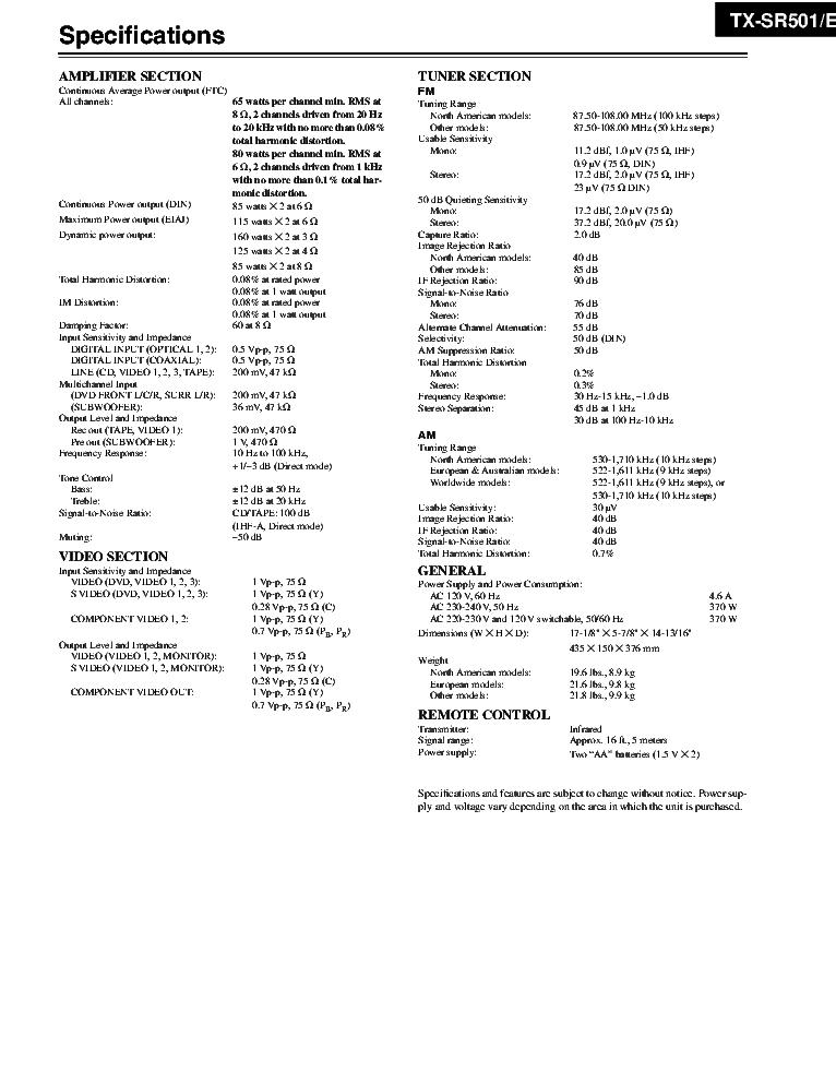 ONKYO TX-SR501 SM AND PARTS REV1 Service Manual download