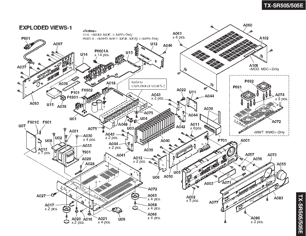 ONKYO TX-SR505-E SM Service Manual download, schematics