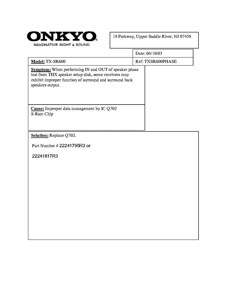 ONKYO TX-SR600-PHASE-SERVICE-BULLETIN Service Manual