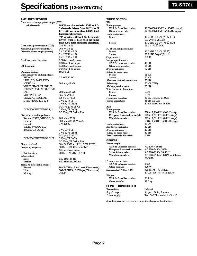 ONKYO TX-SR701-E SM Service Manual download, schematics
