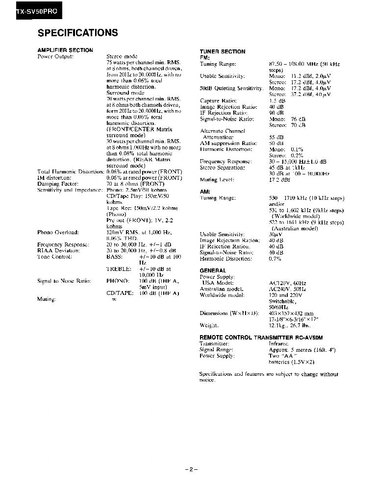ONKYO TX-SV50-PRO SM Service Manual download, schematics