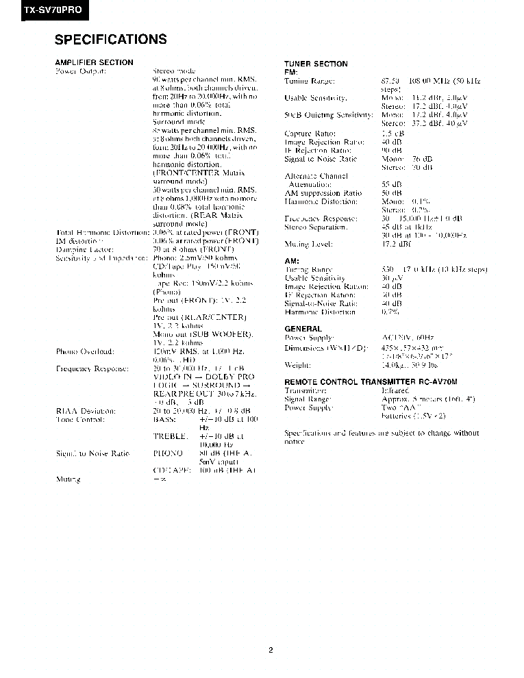 ONKYO TX-SV70-PRO SM Service Manual download, schematics
