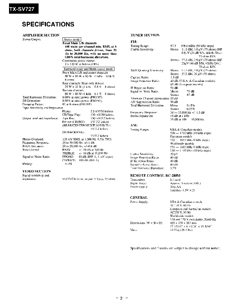 ONKYO TX-SV727-R Service Manual download, schematics