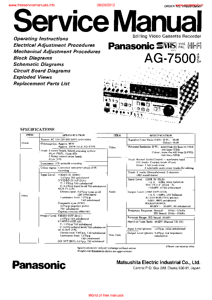 PANASONIC AG-7500PAN Service Manual download, schematics