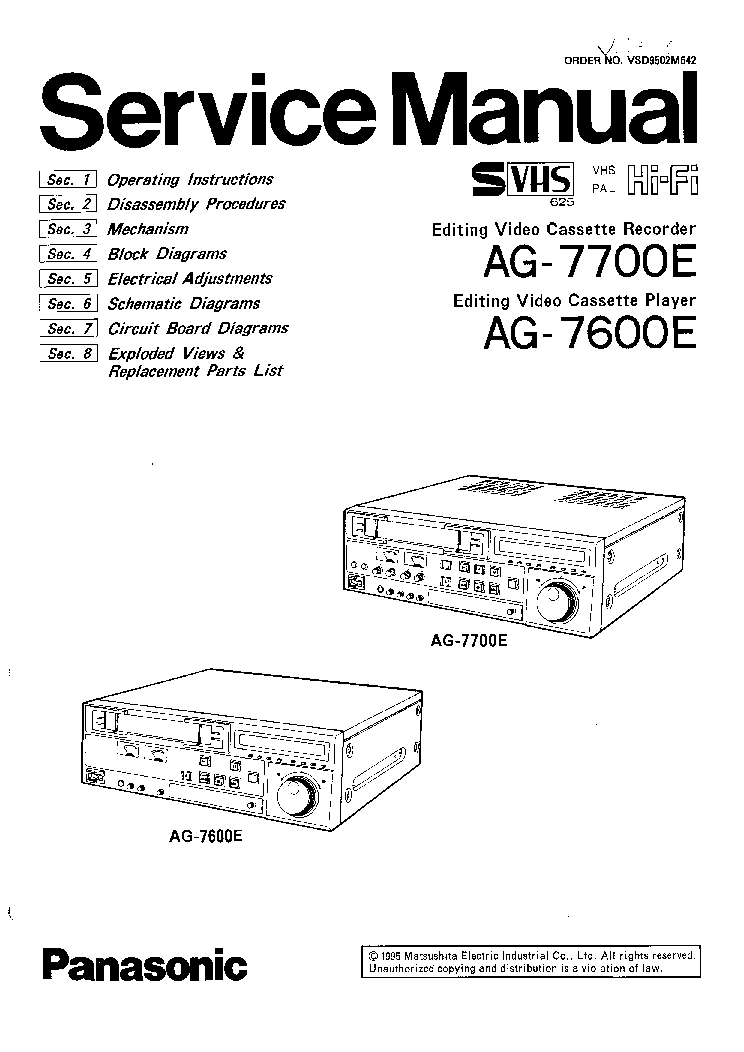 PANASONIC AG-7700E AG-7600E VCR Service Manual download