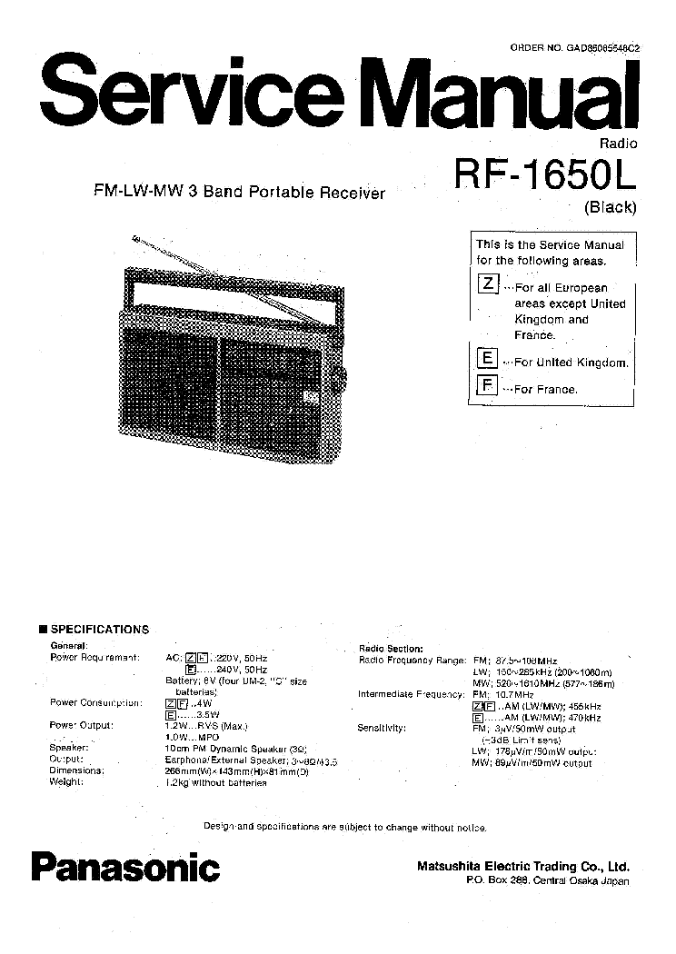 PANASONIC SA AK230 Service Manual download, schematics