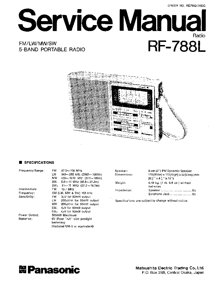 PANASONIC RF-788L Service Manual download, schematics