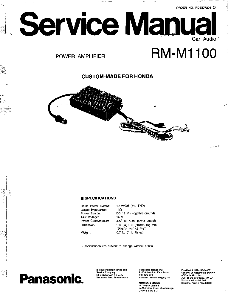 PANASONIC TU-PT600E CH EURO-7TU Service Manual free