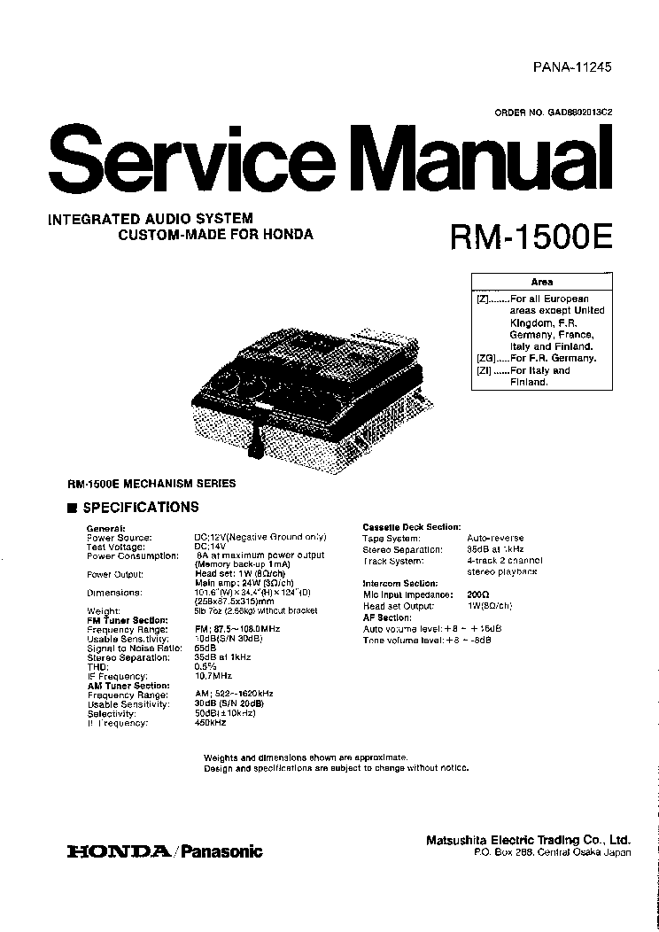 PANASONIC RM1500E BY-HONDA Service Manual download