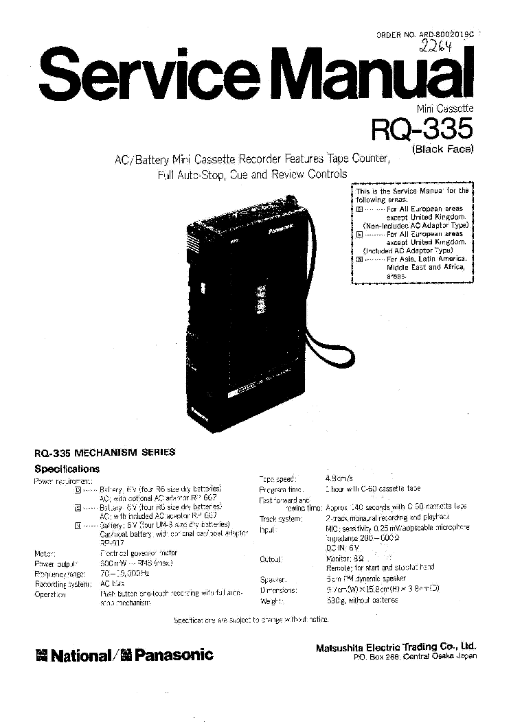 PANASONIC RQ-335 SM Service Manual download, schematics