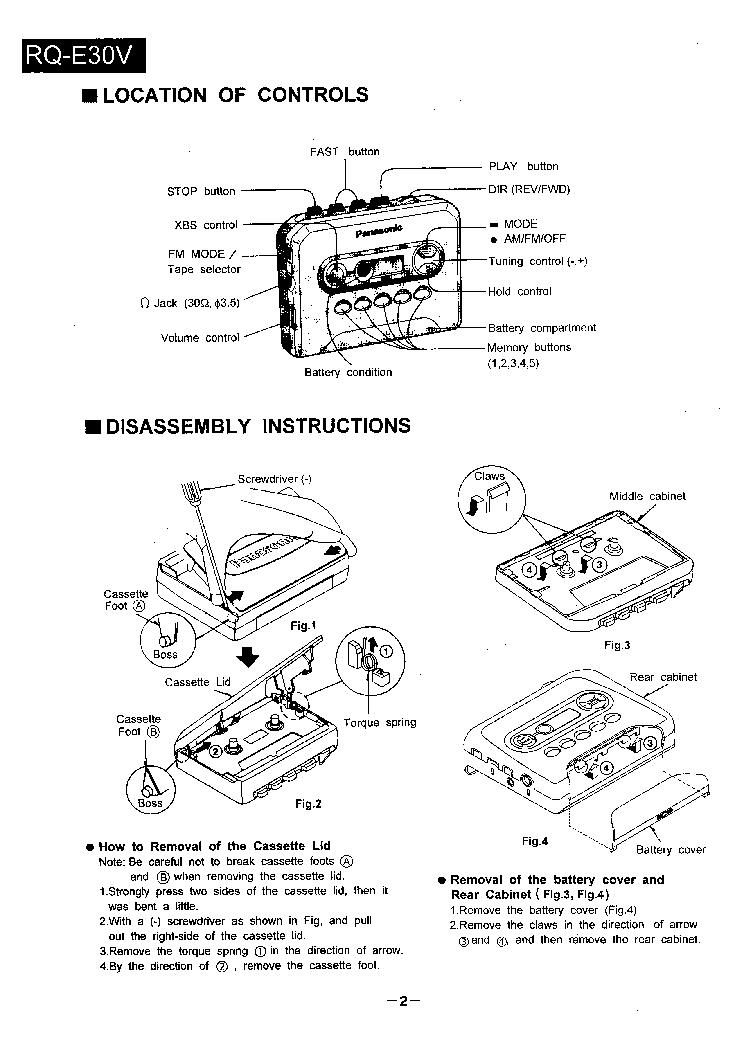 PANASONIC RQ-E30V RADIO CASSETTE Service Manual download