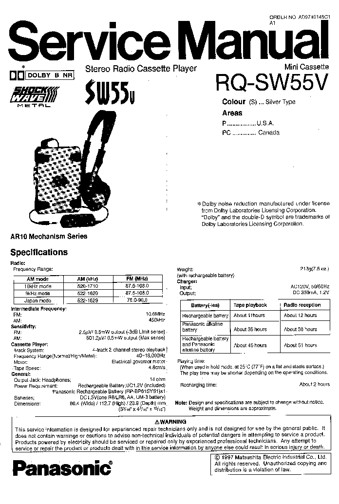 PANASONIC RQ-SW55V Service Manual download, schematics