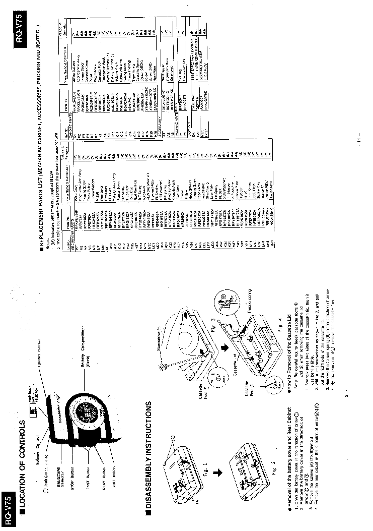 PANASONIC RQ-V75 SM Service Manual download, schematics