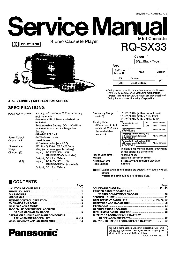 PANASONIC RQ SX33 Service Manual download, schematics