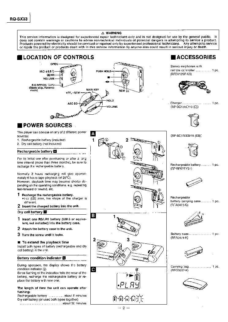 PANASONIC RQ SX33 Service Manual download, schematics