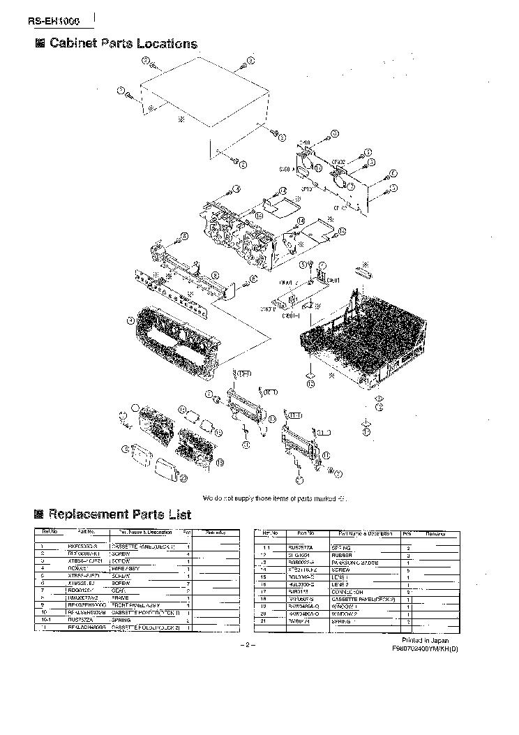 PANASONIC RS-EH1000 CASETTE DECK PARTS Service Manual