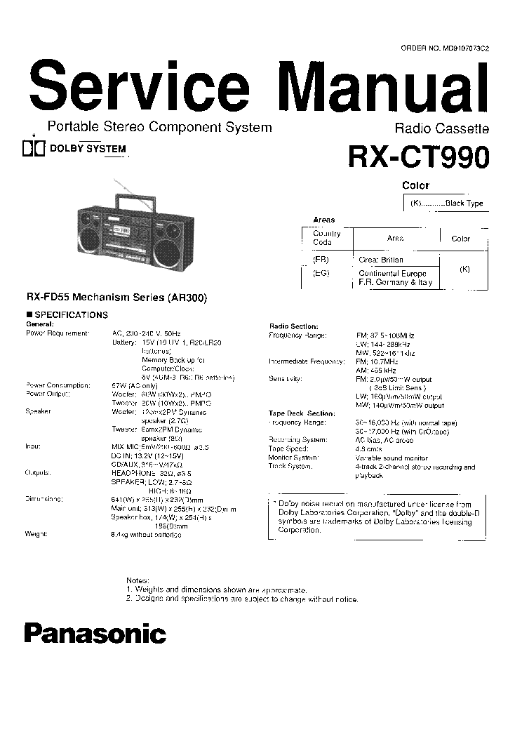 PANASONIC RX-CT990 MD9107073C2 Service Manual download