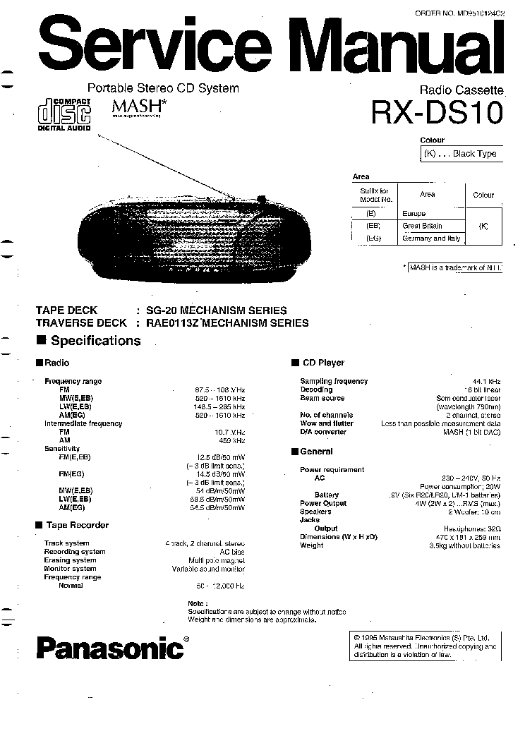 PANASONIC RX-DS10 Service Manual download, schematics