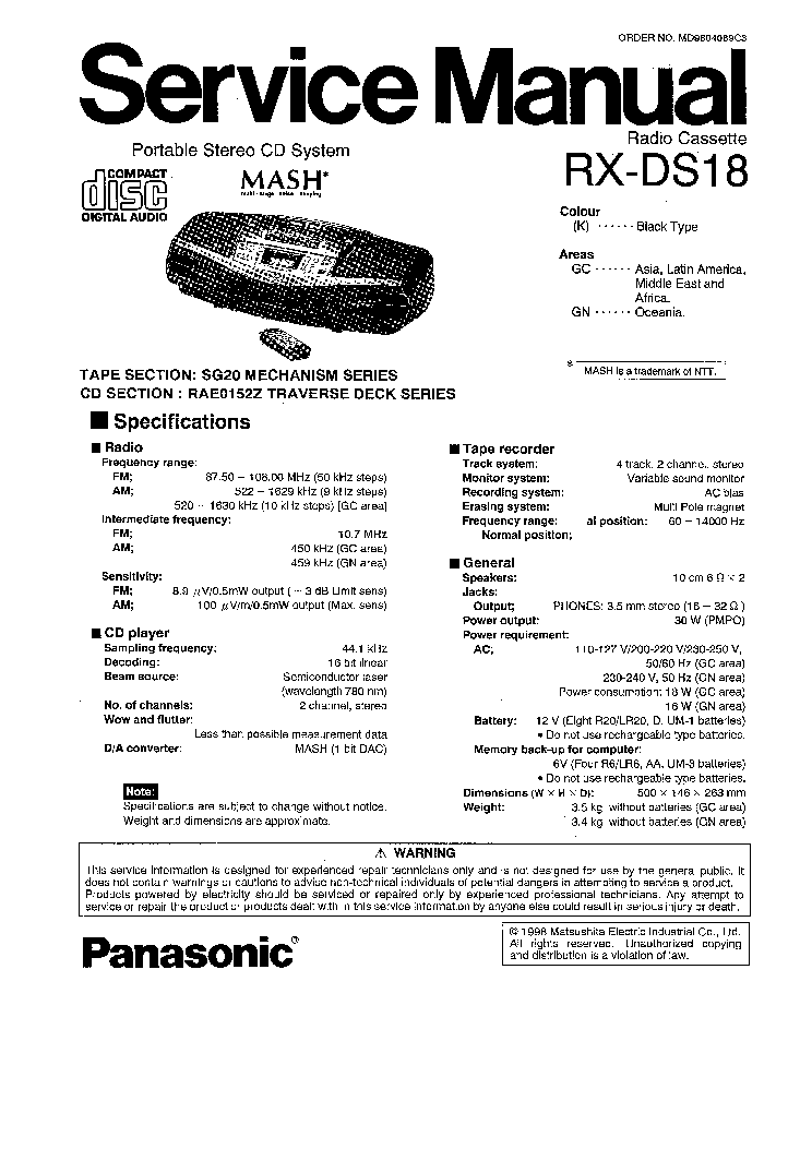 PANASONIC RX-DS18 Service Manual download, schematics