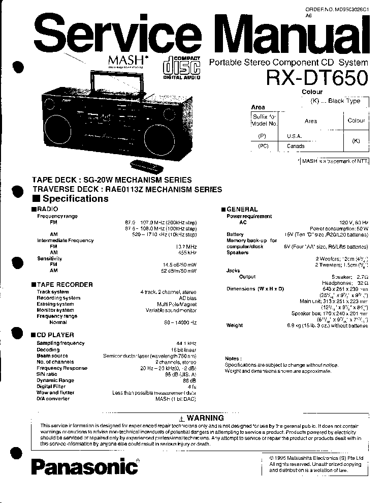 PANASONIC RX-DT650 SM Service Manual download, schematics