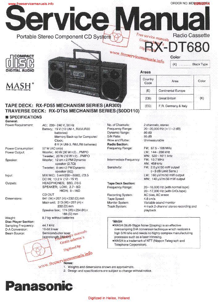 PANASONIC RX-DT680 SM Service Manual download, schematics