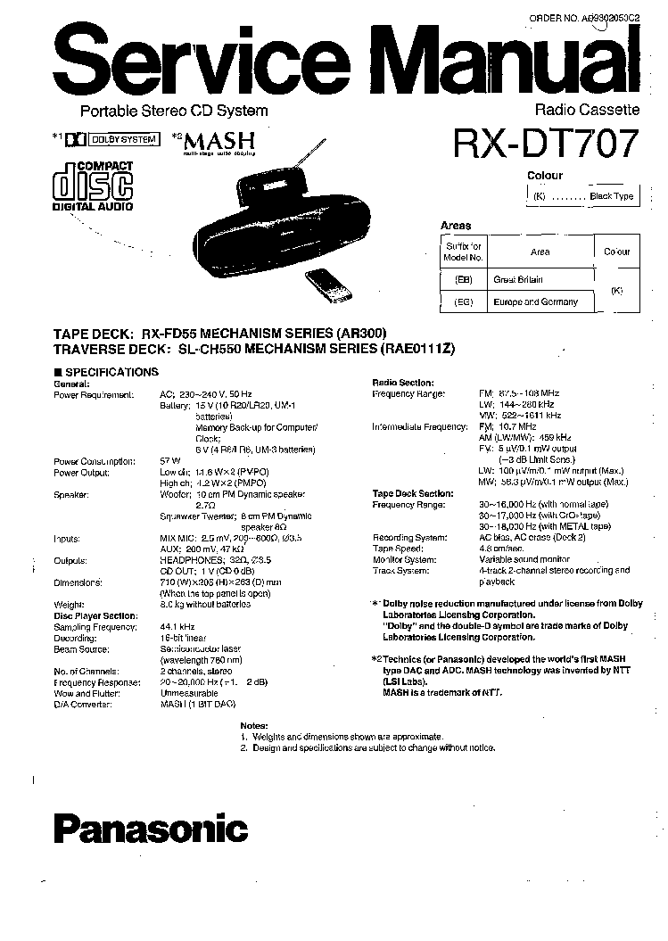 PANASONIC RX-DT707 SM Service Manual download, schematics
