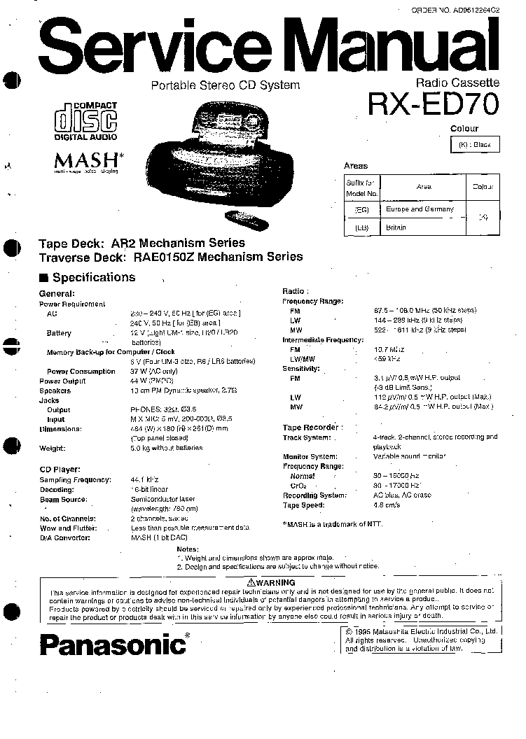 PANASONIC RX-ED70 SM Service Manual download, schematics
