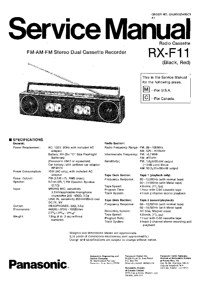 PANASONIC RX-F11 Service Manual download, schematics