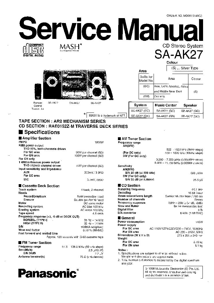 PANASONIC SA-AK27 SM 1 Service Manual download, schematics