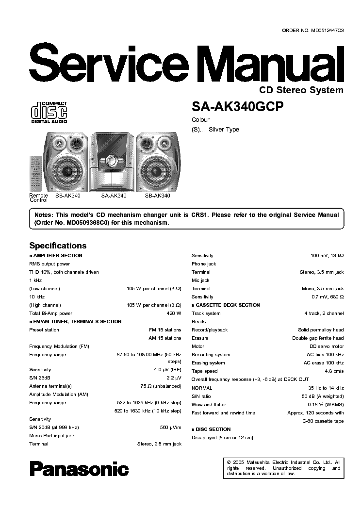 PANASONIC SA-AK340GCP SM Service Manual download