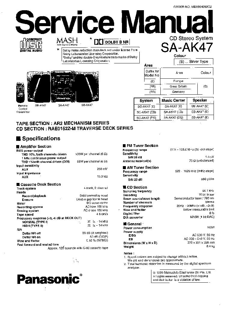 PANASONIC SA-AK47 SM 4 Service Manual download, schematics