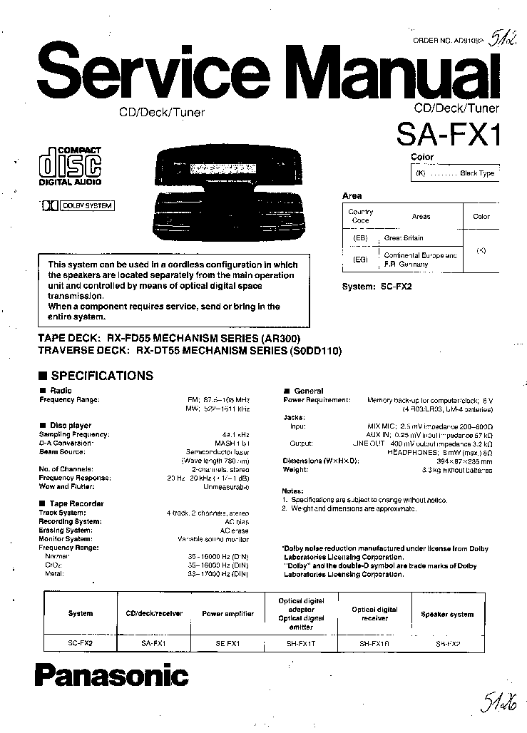 PANASONIC SA-FX1 SM Service Manual download, schematics
