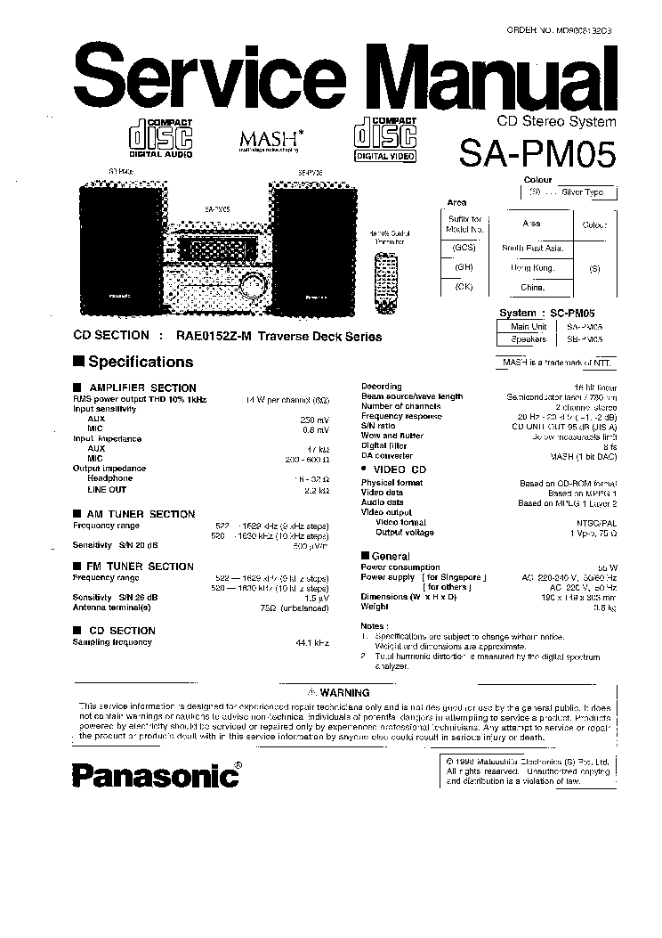 PANASONIC SA-PM30MD Service Manual free download