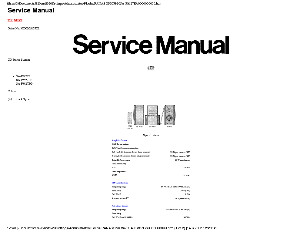 PANASONIC SA-AK200 SM Service Manual free download