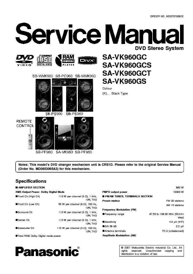 PANASONIC SA-VK960GC Service Manual download, schematics