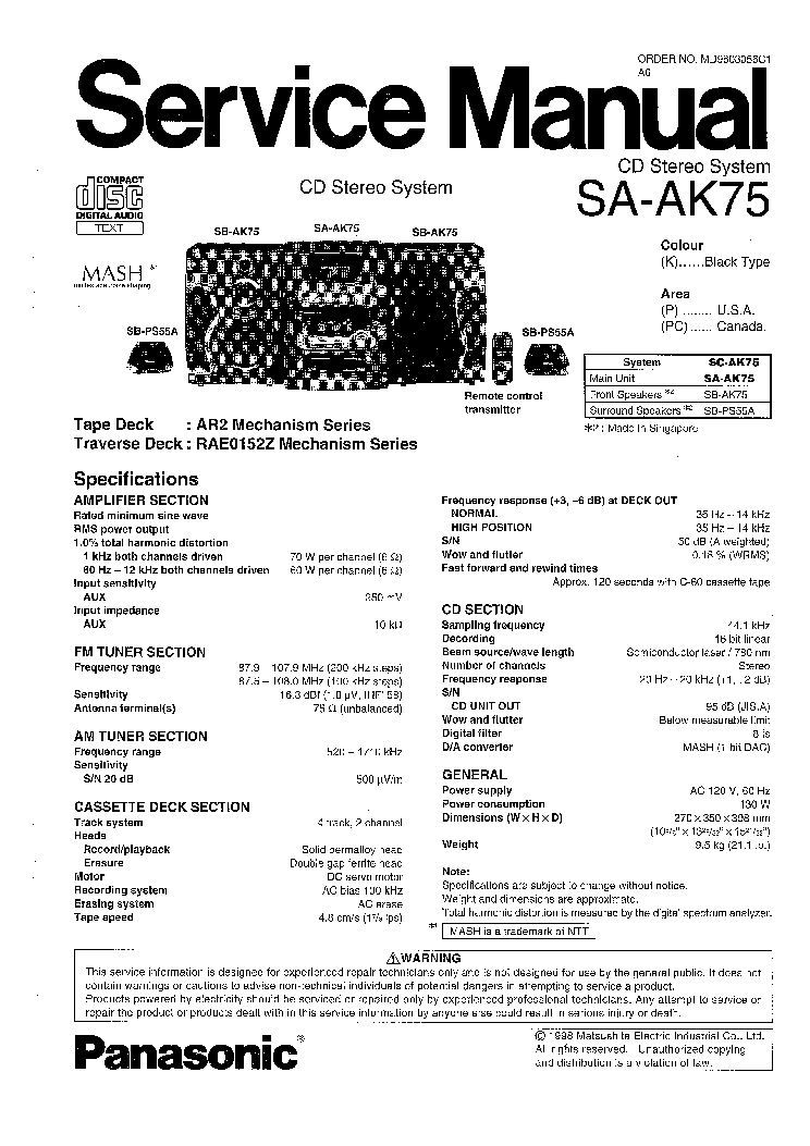 PANASONIC SA AK75 Service Manual download, schematics