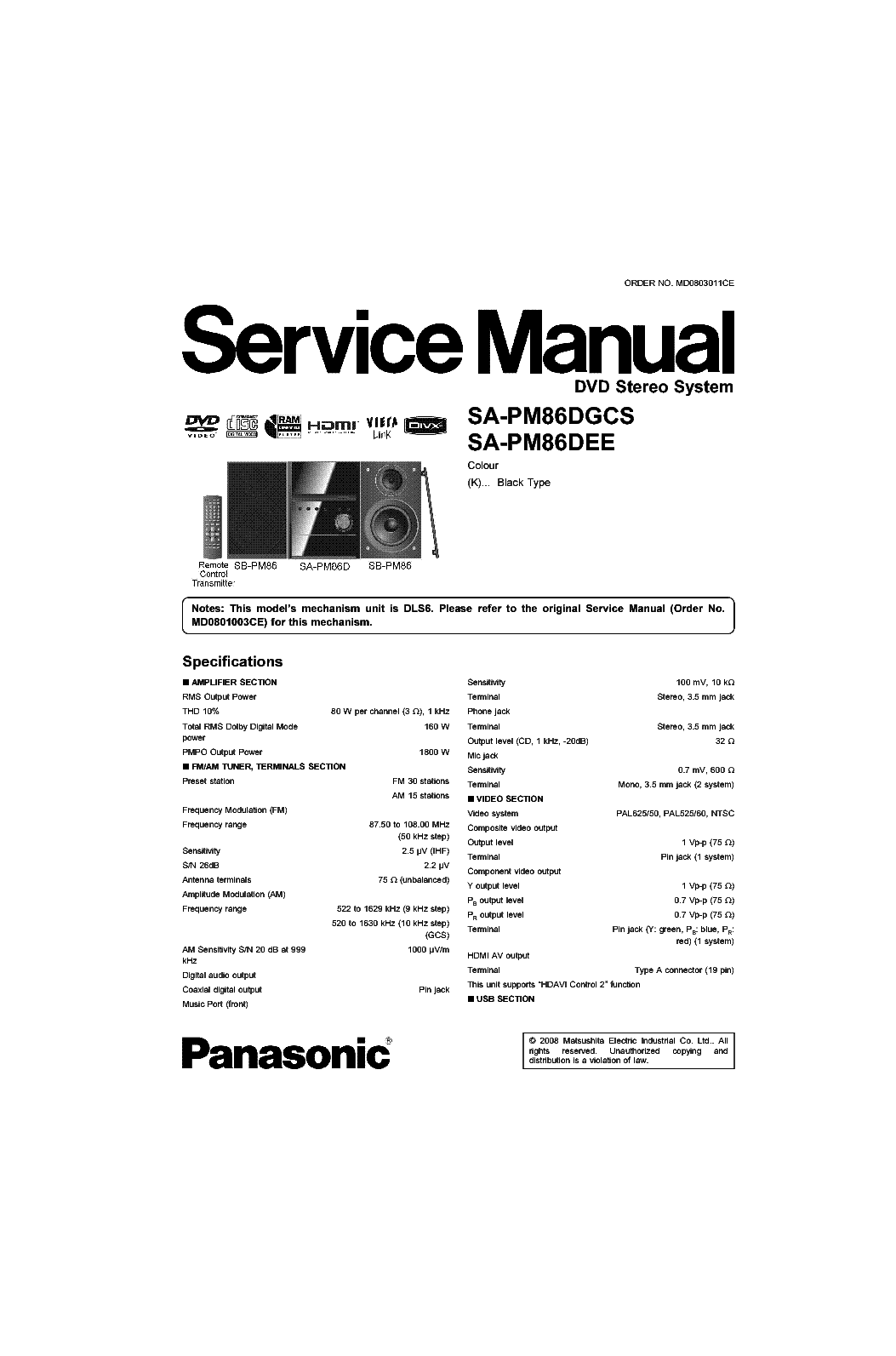 PANASONIC SA PM86 Service Manual download, schematics