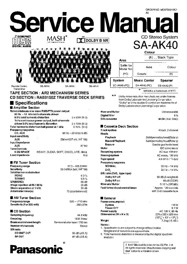 PANASONIC SAAK40 Service Manual download, schematics