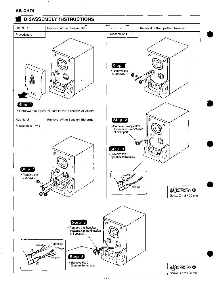 PANASONIC SB-CH74 SPEAKER SYSTEM Service Manual download
