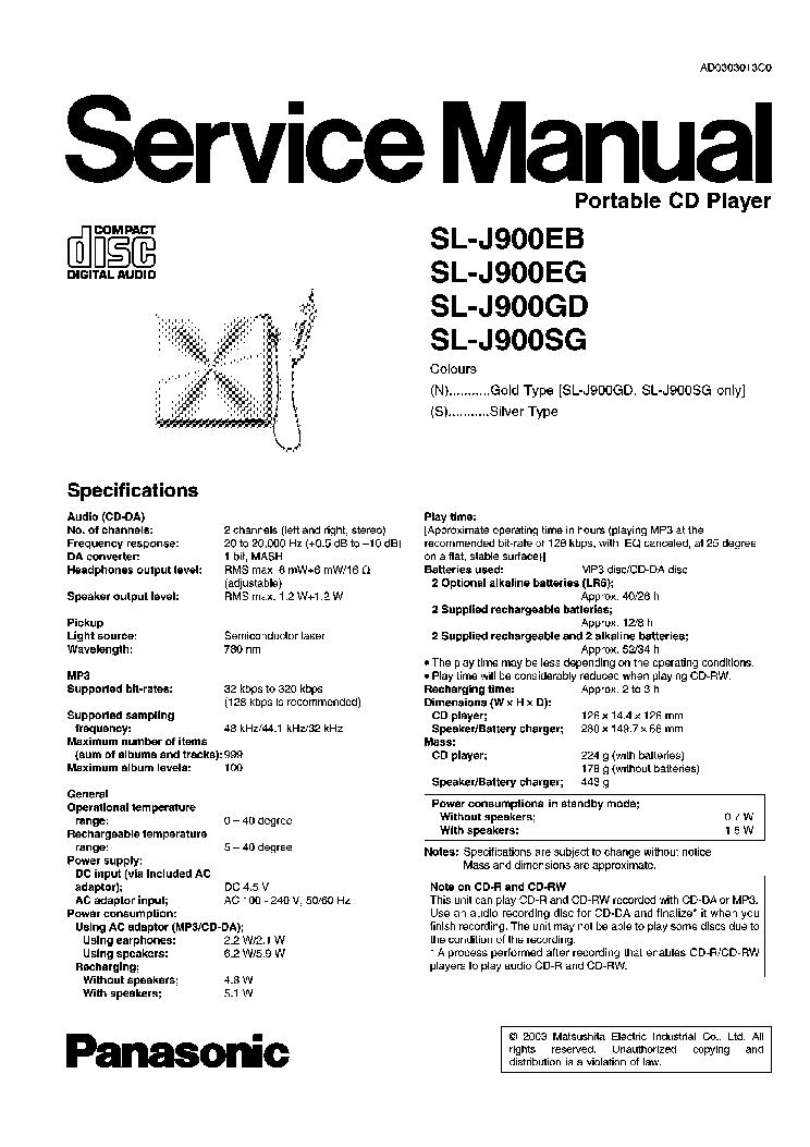 PANASONIC SL-J900EB SL-J900EG SL-J900GD SL-J900SG