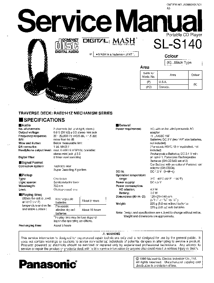 PANASONIC RS-EH600 SM Service Manual download, schematics