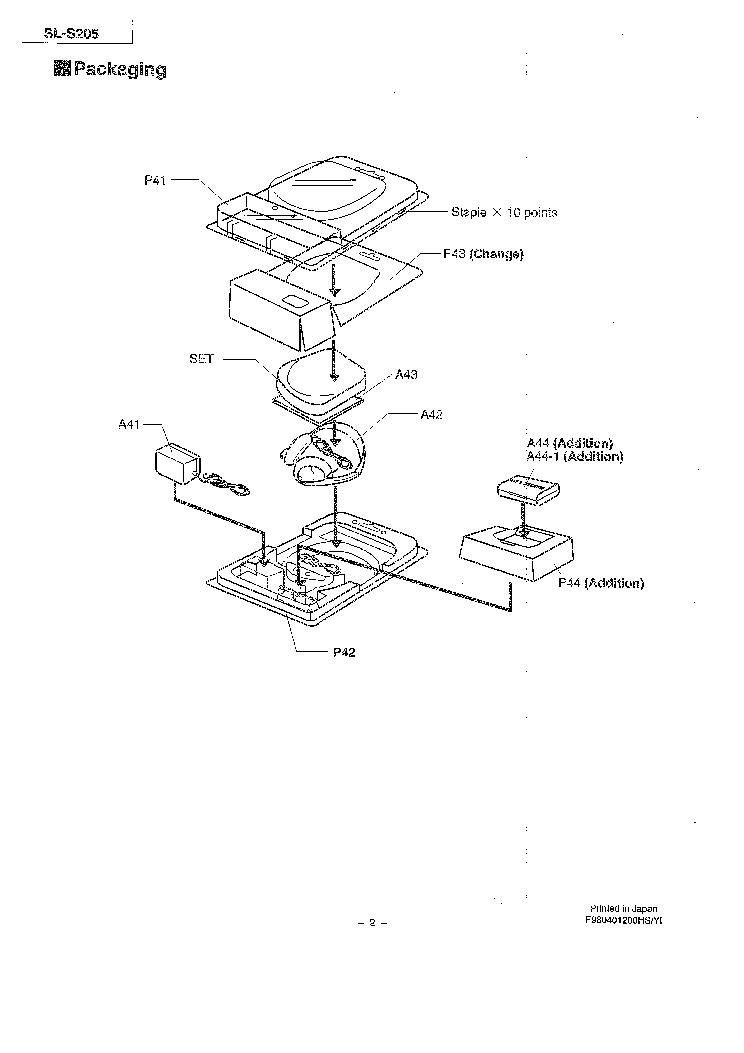PANASONIC SL-S205 Service Manual download, schematics