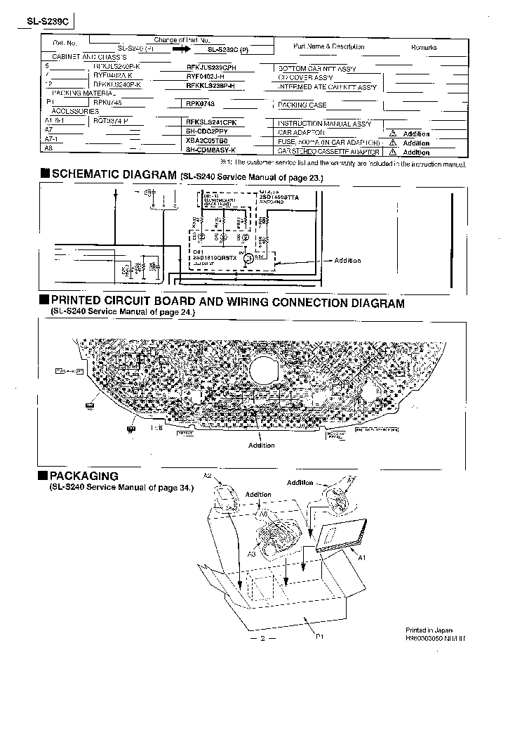 PANASONIC SL-S239C Service Manual download, schematics