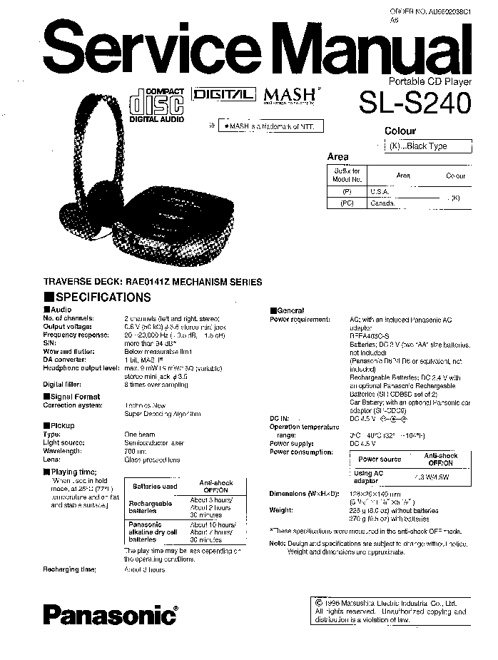 PANASONIC SL-S240 Service Manual download, schematics