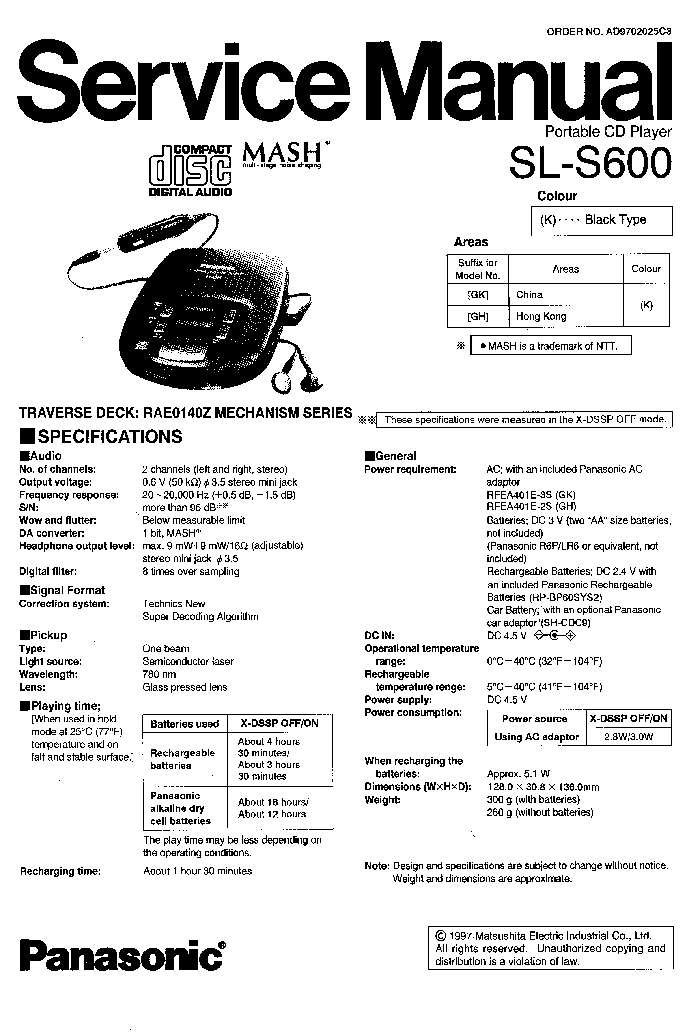 PANASONIC SL-S600 Service Manual download, schematics