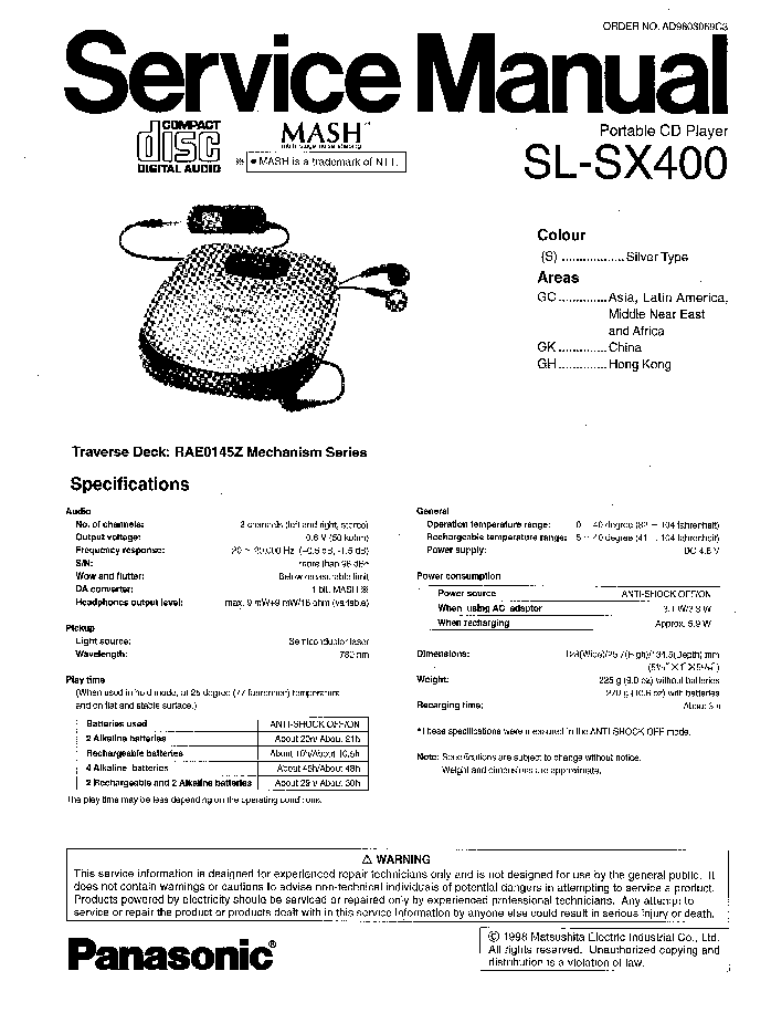 PANASONIC SL-SX400 Service Manual download, schematics