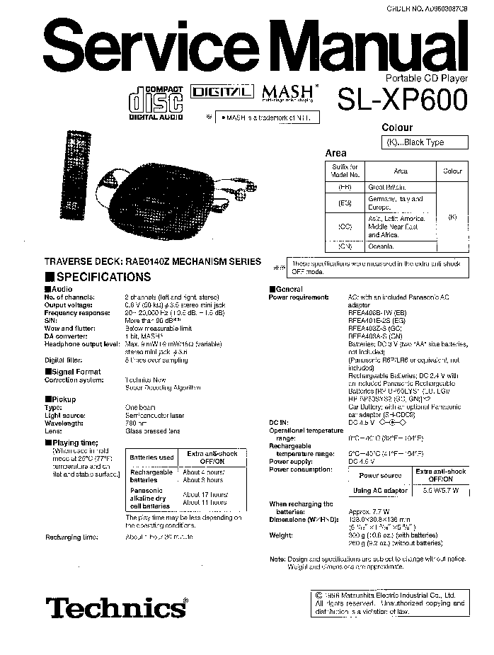 PANASONIC SL-XP600 Service Manual download, schematics