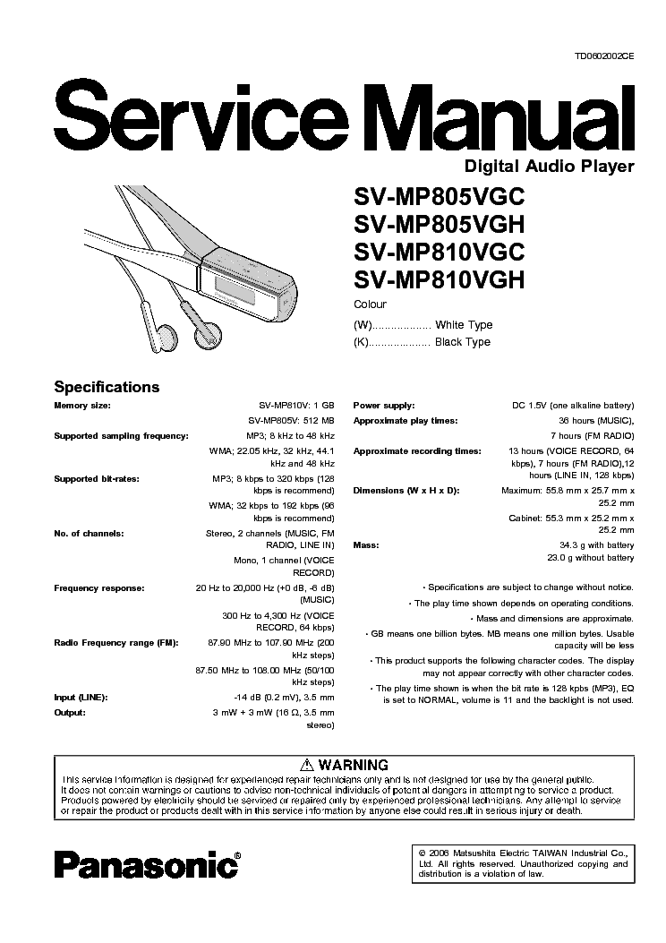 PANASONIC SV-MP805VGC,MP810VGC Service Manual download