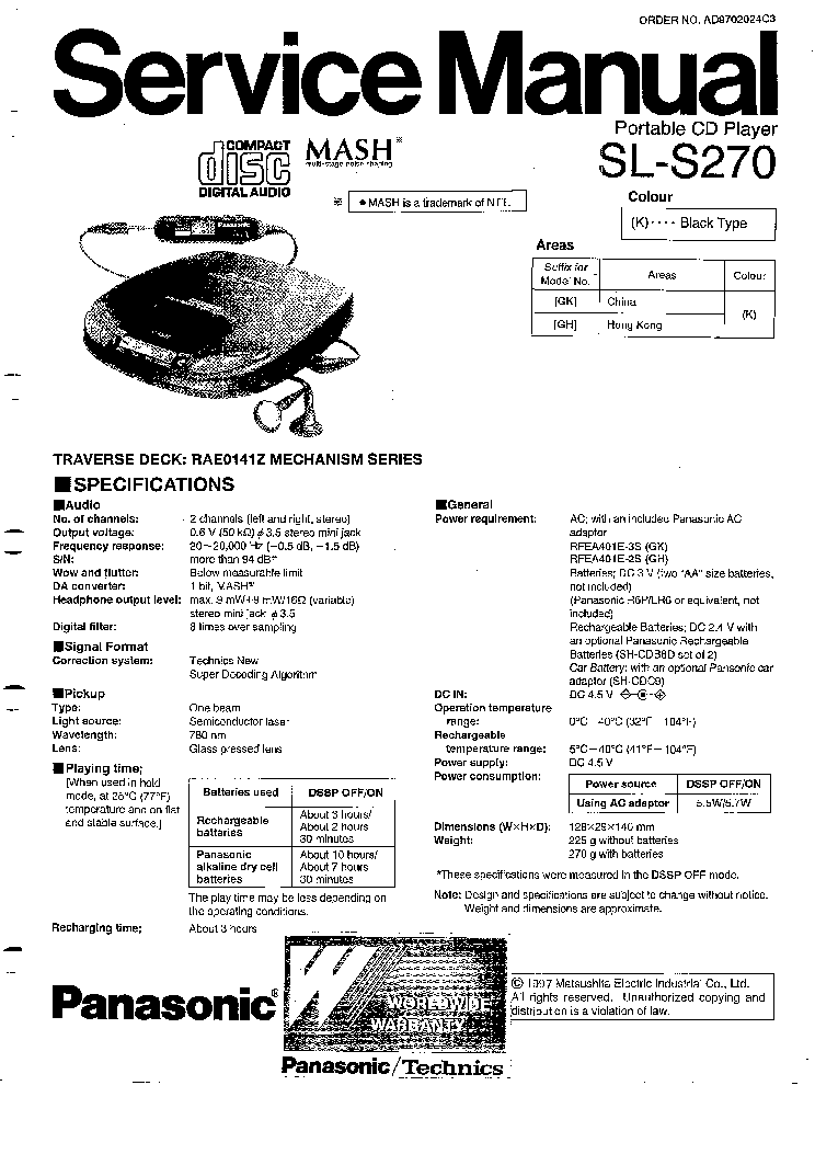 PANASONIC RXDS45 SM Service Manual free download